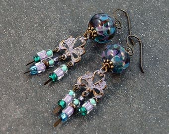 Lilac Fields Antique Brass Trinity Charm Patina Lampwork Bead Boho Earrings
