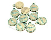 Peace Charms, 10pc Patina Bronze Charms, 17x13mm