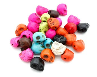 Skull Beads, Day of the Dead Multicolored Dyed Magnesite, 8x12mm