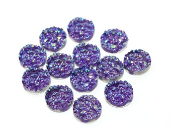 Iridescent Purple 12mm Faux Druzy Crystal Clusters Cabochons Chunky Nuggets Sfa0208