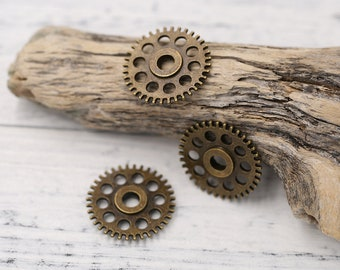 10pcs of Antique Bronzed Tone Steampunk Gear Charms Pendants Drops, Double-sided
