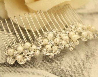 Pearl Hair accessories,Bridal hair comb,Crystal headpiece,Wedding hair accessories,Bohemian Bridal comb,pearl hair comb,Vintage style Comb