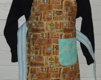 REVERSIBLE Child Country Cooking Apron / Art Smock fits size 3, 4, 5, 6 and 7 Turquoise butterfly, Tan coffee cappucino barista