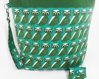 """Large Zipper Knitting Project Bag """"Whooo Are You?"""" (Wedge Style):  with detachable handle! (10"""" x 14"""" x 5"""" base)"""