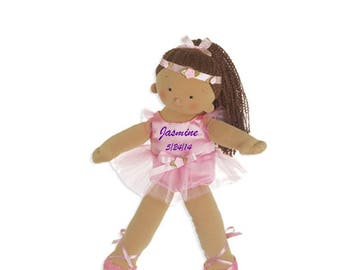 "Personalized 18"" Jasmine Big Sister Ballerina Doll - Tan"