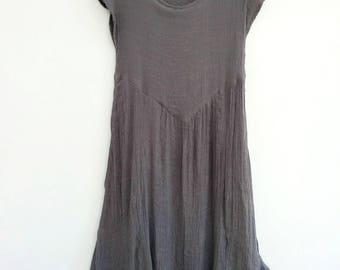 Bohemian maxi dress in steel gray. Short sleeve summer cotton linen long dress. Size M medium, European 38