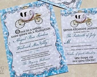 Elegant Cinderella Themed Wedding Invitations.