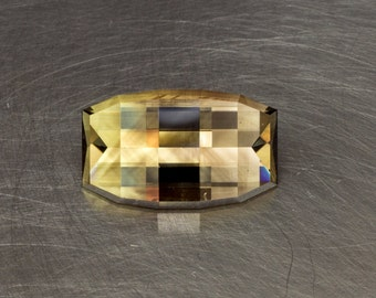 Phantom Citrine Loose Natural and Untreated Unique Modern Bar Cut Geometric Faceted Gemstone Gem