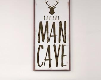 Little Man Cave, Farmhouse Rustic Wood Sign, Rustic Nursery, Boy Room, Baby Boy Nursery, Farmhouse Decor, Deer Decor, Antler Wall Art