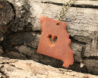 World Travel Leather Pendant Necklace... USA Heart in Missouri