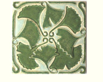 Ginkgo Leaves Arts and Crafts MUD Pi Handmade 6x6 Ceramic Tile