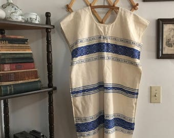 1970s Woven Fringed Huipil Dress - size S/M