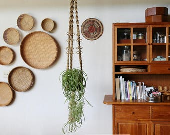 Macrame Plant Hanger // Handmade w/ Jute and Wood Beads
