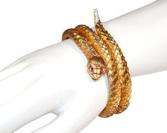 Jomaz Snake Bracelet, Jeweled Rattlesnake, Rare, Collectible, Signed, Vintage 1960s