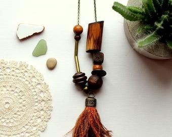 Tassel necklace  bohemian brown wood