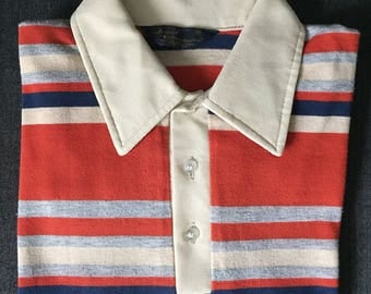David Homscu Men's Short Sleeve Striped Polo Shirt, size M - FREE SHIPPING