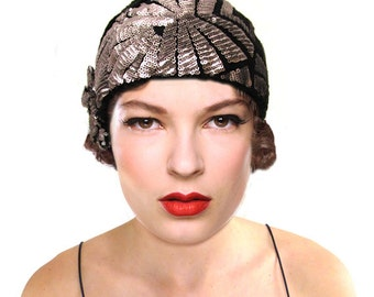 Art Deco Cloche Hat, Black Knit Hat, Silver Flapper Hat, 1920s Hat, Great Gatsby, Statement Crochet Beanie, Retro Hat, Gift For Her