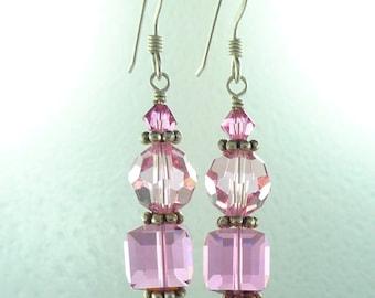 Pink Swarovski Crystal Colorful Wedding Prom Sterling Earrings