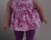 Plum Tie die shirt , pants, shoes and socks for american girl 18 inch doll