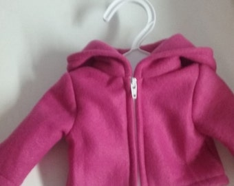 Pink Hoodie for 18 inch doll american girl