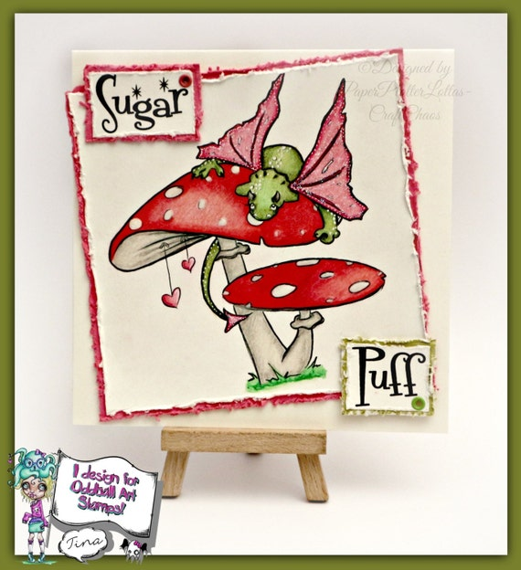 INSTANT DOWNLOAD Tiny Kawaii Baby Dragon on a Mushrooml Digital Stamp - Sugar Puff Image No.360 by Lizzy Love