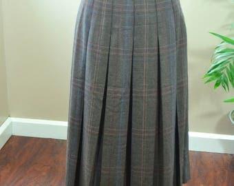 Vintage David N. Plaid Pleated Wool Skirt - S