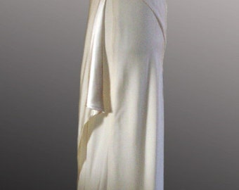 Ivory silk wedding dress bias cut and hand sewn