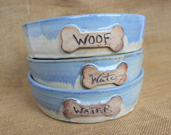 Large ceramic hand thrown pottery dog bowl, ready to ship
