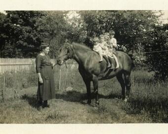 "Vintage Photo ""The Horsey Taxi"" Snapshot Antique Photo Old Black & White Photograph Found Paper Ephemera Vernacular - 73"