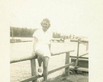 "Vintage Photo ""Enjoying Life on the River"" Snapshot Antique Photo Old Black & White Photograph Found Paper Ephemera Vernacular - 40"