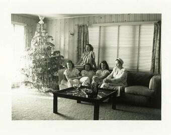 "Vintage Photo ""Waiting for Santa Claus"" Snapshot Antique Photo Old Black & White Photograph Found Paper Ephemera Vernacular - 62"