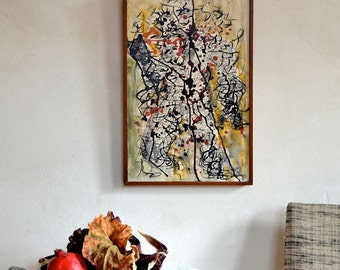 Vintage Abstract Painting Original Drip Technique Signed Ron Miller Dated 1961 Mid Century Art