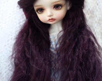 """10in"""" Long Purple Tibetan Mohair Wavy Wig for Volks BJD SD and Pullip Dolls"""