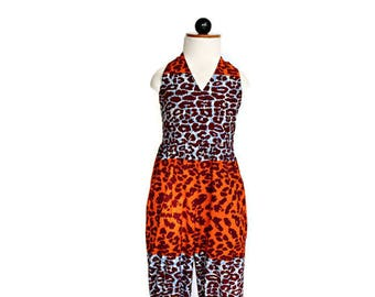 African Print girl's jumpsuit in a tiger print african print