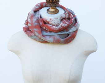 rust copper silk chiffon scarf, screen printed scarves by 88editions