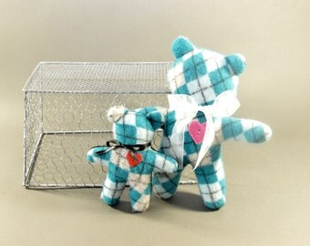 30% off - Large Cashmere Teddy Bear - Felted Cashmere in Teal, Black and Grey Argyle