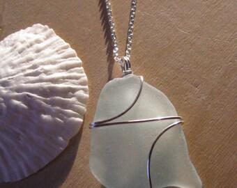 Large Sea Glass Jewelry Pale Sky Blue Sea Glass Necklace Beach Glass Pendant