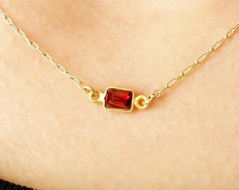 Garnet Necklace in gold filled chain, tiny small baguette cut garnet gemstone bezel connector necklace