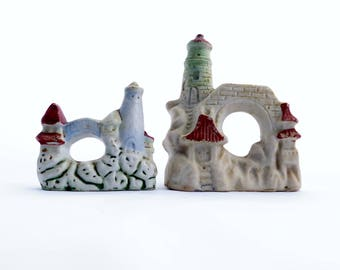 Vintage 2 Fish Aquarium Ceramic Castles With Two Pagodas and Arched Bridges Marked Japan