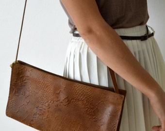 Shoulder Bag, 1980s Tooled Leather Purse, Vintage Retro Bag, Cross Body Handbag