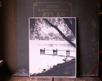 Vintage Lake Photo with Willow Trees and Primitive Dock - Retro Lake House Decor