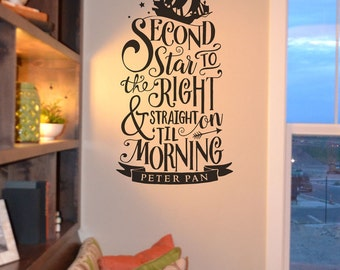 Second star to the right quote wall decal KW1307 Peter Pan, vinyl wall lettering sticker, decal, home decor, Walt Disney, we do Disney