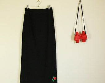 90s Black Maxi Witch Skirt with Rose Detail and Side Split Halloween Goth Summer Festival