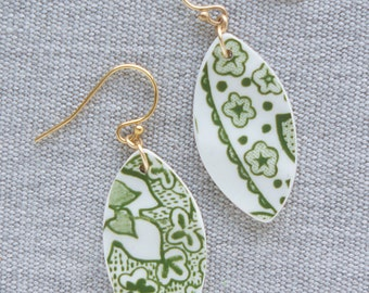 Verdant Earrings Broken Recycled China Jewelry Material and Movement