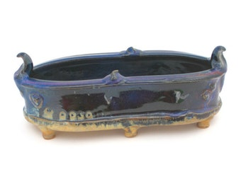Wheel Thrown Midnight Blue and Gold Ceramic Dish #05, Handmade Candy Dish, Ceramic Serving Dish, Appetizer Serving Tray