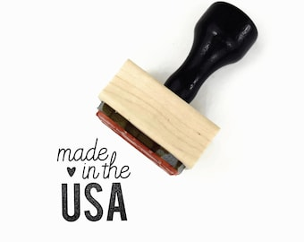 Made in the USA Rubber Stamp - Made in America Stamp  - DIY Packaging Tag Craft Art Happy Mail Show - Mounted Rubber Stamp by Creatiate
