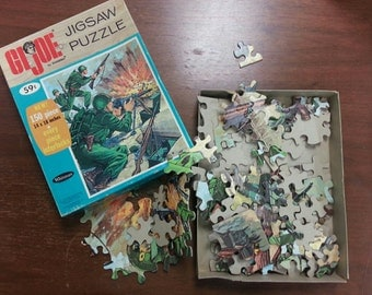 VINTAGE 1965 GI Joe Jigsaw Puzzle Cardboard Pieces Original Box Packaging GIJoe G I Army Table Top Family Fun Game Room Guy Gift Artwork Art