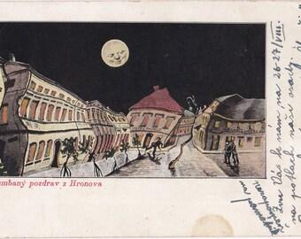 Nabumbaný Greeting- 1900s Antique Postcard- Hronova, Czechoslovakia- Drunk Humor- Art Comic- Full Moon Night- Paper Ephemera- Used