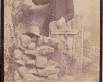 Gentleman at the Garden Gate- 1800s Antique Photograph- Victorian Man- Bowler Hat- Cabinet Photo- Muscatine, Iowa- Paper Ephemera