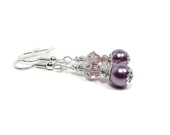 Purple Faux Pearl Earrings with Crystals Womens Formal Silver Plated Drop Dangle Spring Summer Womens Gift